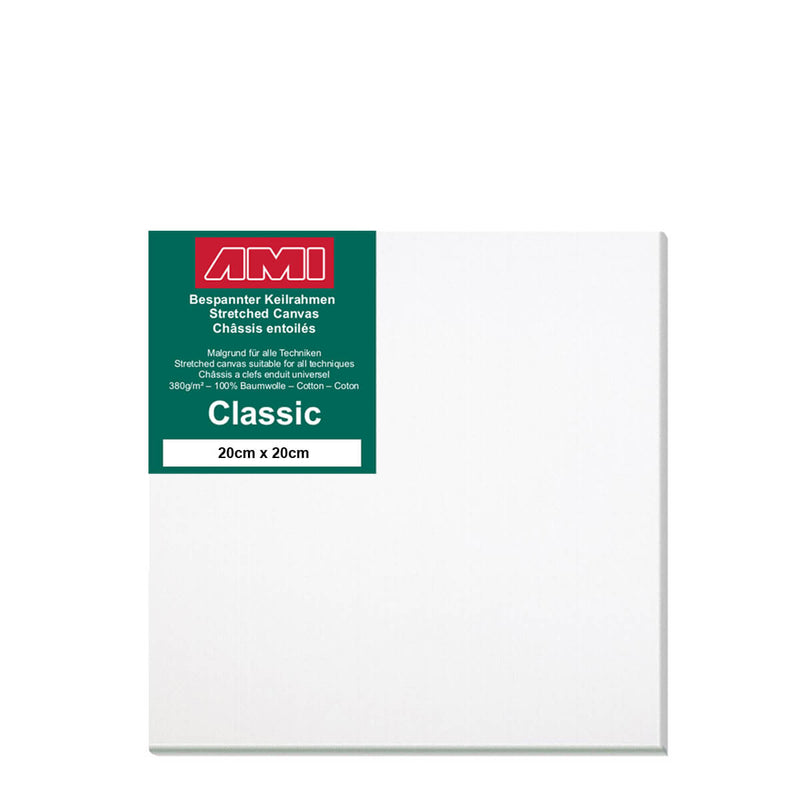 A front facing classic cotton canvas from AMI that is white and measures 20cm x 20cm