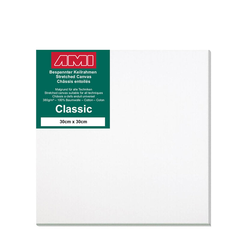 A front facing classic cotton canvas from AMI that is white and measures 30cm x 30cm