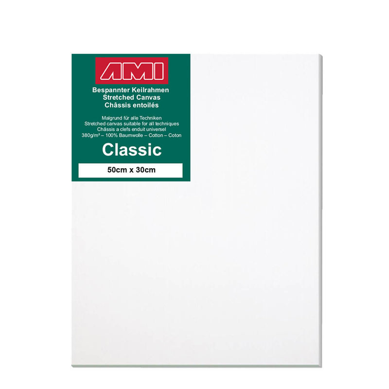 A front facing classic cotton canvas from AMI that is white and measures 50cm x 30cm