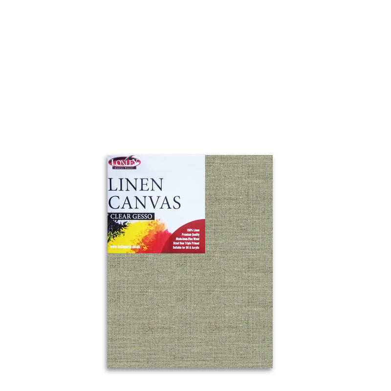 Front image of a Loxley Linen Clear Gesso Canvas that measures 18 by 14 inches and comes in a Box of 5