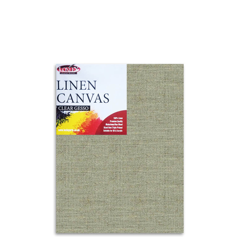 Front image of a Loxley Linen Clear Gesso Canvas that measures 24 by 18 inches and comes in a Box of 5
