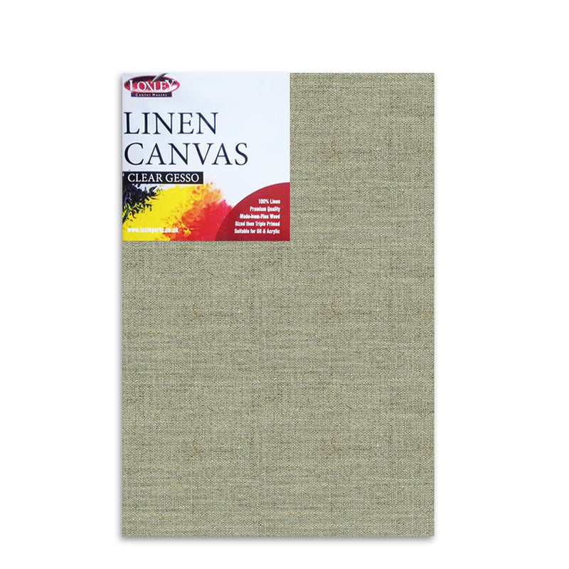Front image of a Loxley Linen Clear Gesso Canvas that measures 30 by 20 inches and comes in a Box of 5