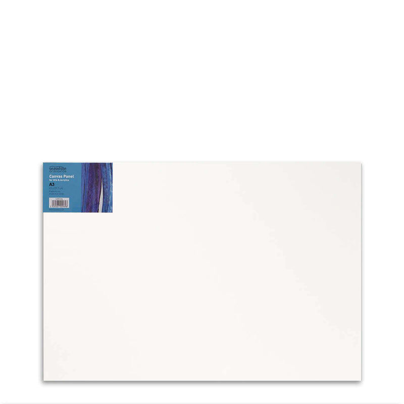 Front image of a Seawhite Primed Cotton Canvas Board that is A3 and comes in a pack of 10
