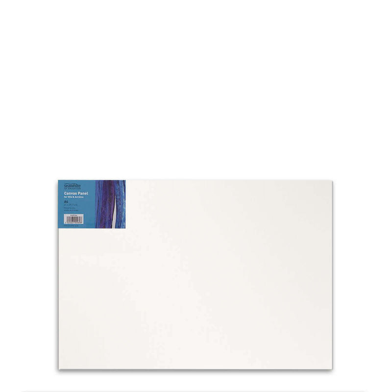 Front image of a Seawhite Primed Cotton Canvas Board that is A4 and comes in a pack of 10