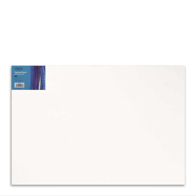 Front image of a Seawhite Primed Cotton Canvas Board that is A2 and comes in a pack of 5