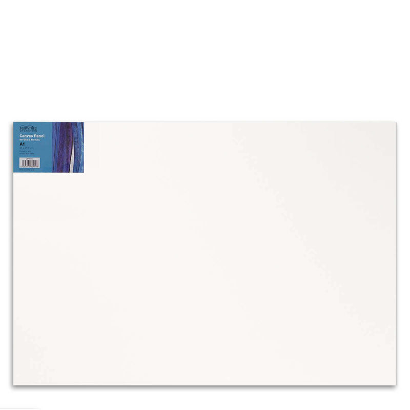 Front image of a Seawhite Primed Cotton Canvas Board that is A1 and comes in a pack of 5
