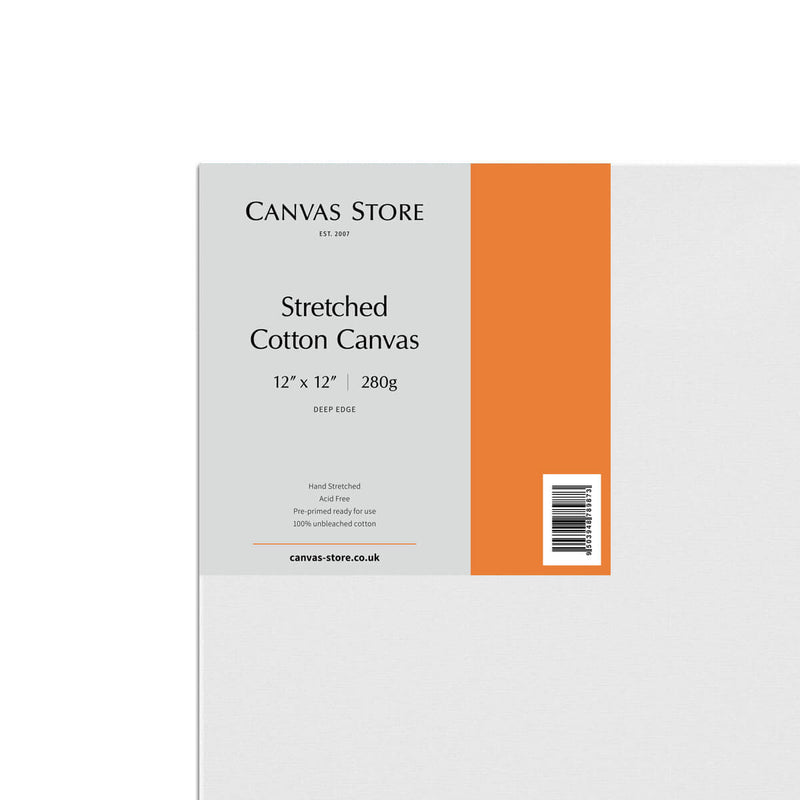 Canvas Store Cotton Canvas Deep Edge 12inch x 12inch Box of 5