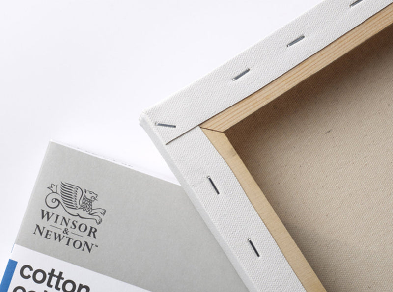 Image of the front and back of a Winsor & Newton Cotton Canvas that shows the stapled frame on the back which measures 5 by 5 inches and comes in a box of 6.