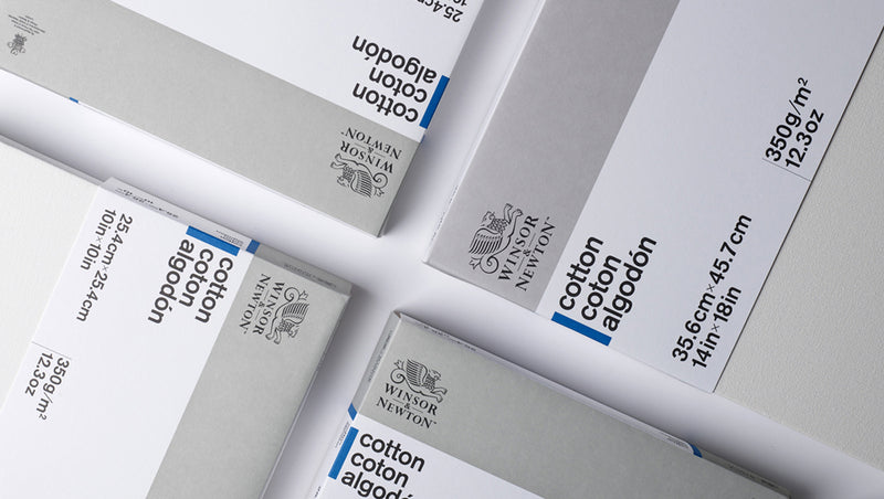 Selection of four Winsor & Newton Cotton Canvases that measure 4 by 6 inches that are organised symmetrically.