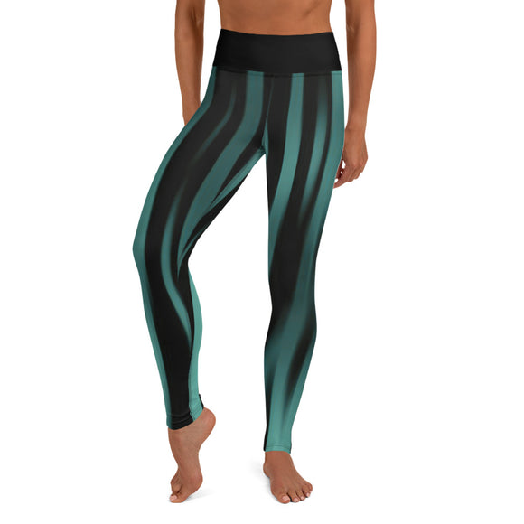Vertical Ocean Stripes Yoga Leggings
