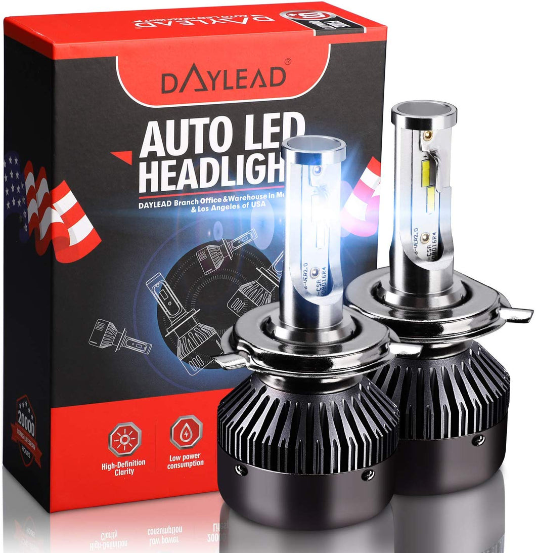 H4 LED Headlight BulbsH4 LED Headlight Bulbs Conversion Kit LED Light Bulb with Cooling Fan,12000LM 6500K Xenon White, Low Beam/Fog Light Bulb,Pack of 2