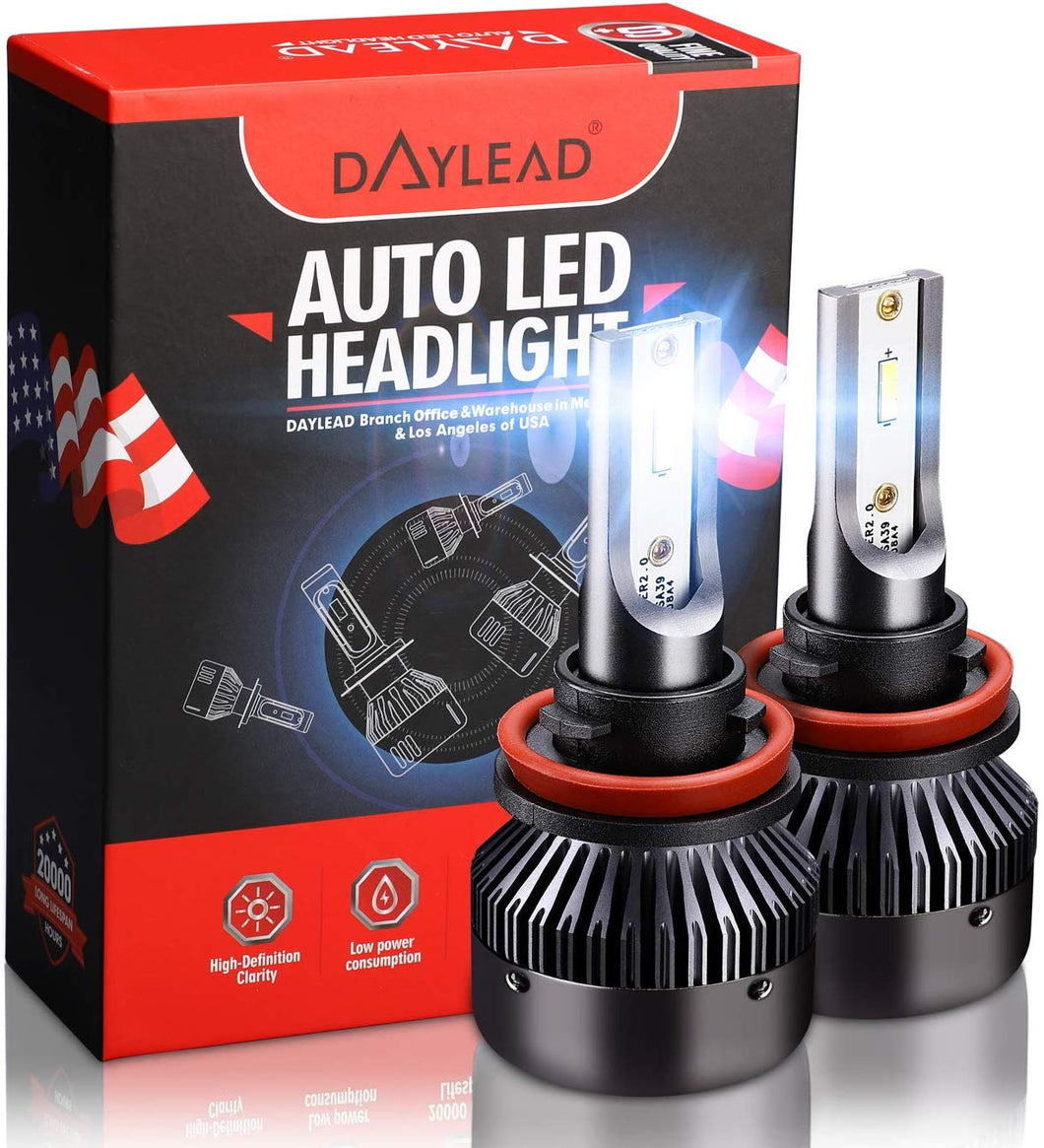 H11 LED Headlight BulbsH11 LED Headlight Bulbs Conversion Kit LED Light Bulb with Cooling Fan,12000LM 6500K Xenon White, Low Beam/Fog Light Bulb,Pack of 2