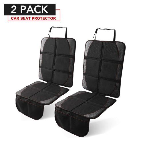 HOUSE DAY Car Seat Protector, 2 Pack Large Auto Car Child Baby Seat Protector with Thickest Padding and Non-Slip Backing Mesh Pockets, Vehicle Dog Cover Pad for SUV Sedan (Black Hem)
