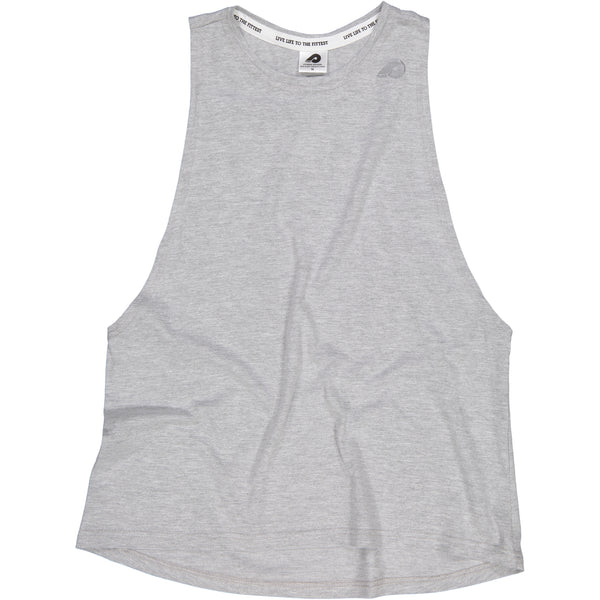 Ladies Light Grey Melange Muscle Vest
