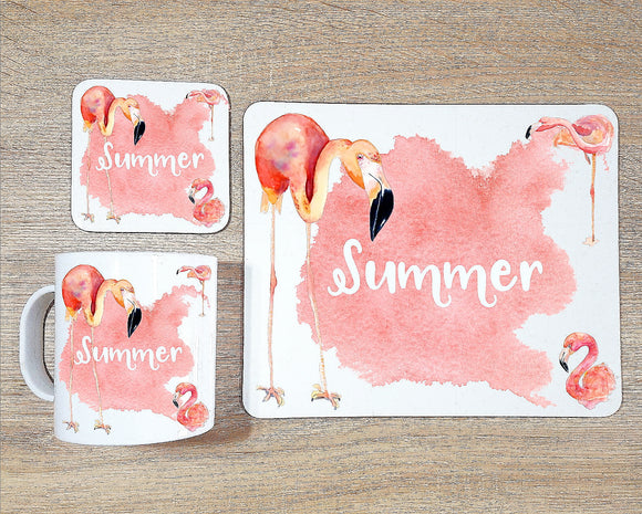 Flamingo coaster and placemat dining set