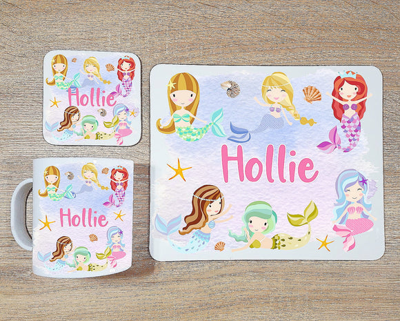 Mermaid coaster and placemat dining set