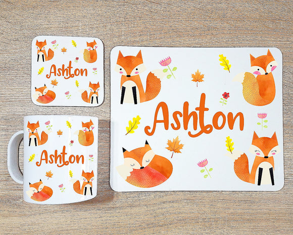 Fox coaster and placemat dining set