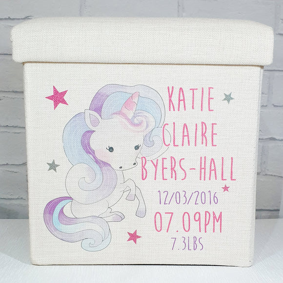 Unicorn linen ottoman storage box personalised with any text