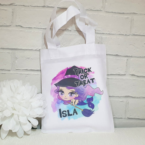 Personalised Halloween Witch mermaid trick or treat tote bag