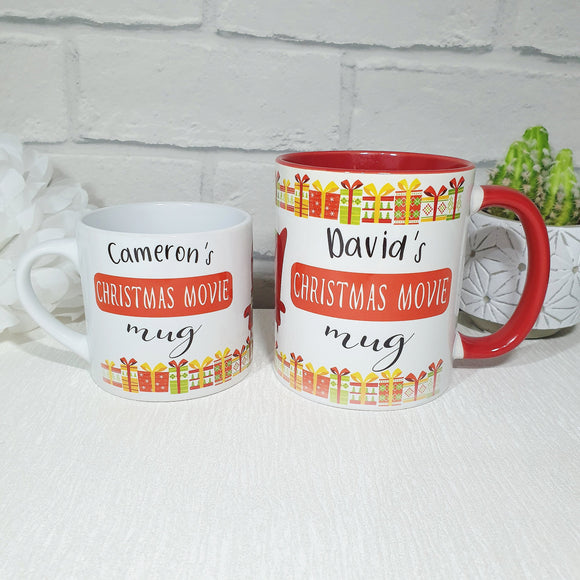 Personalised red design Christmas movie mug