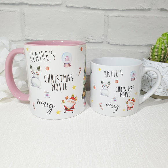 Personalised santa & snowman design Christmas movie mug