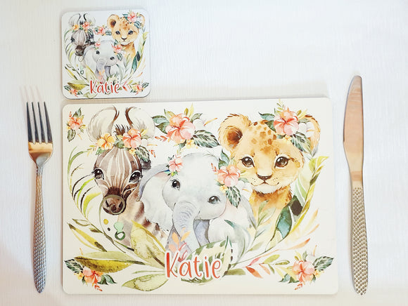 Cute baby animal coaster and placemat dining set lion zebra elephant cubs