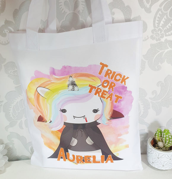 Personalised Halloween vampire unicorn trick or treat tote bag