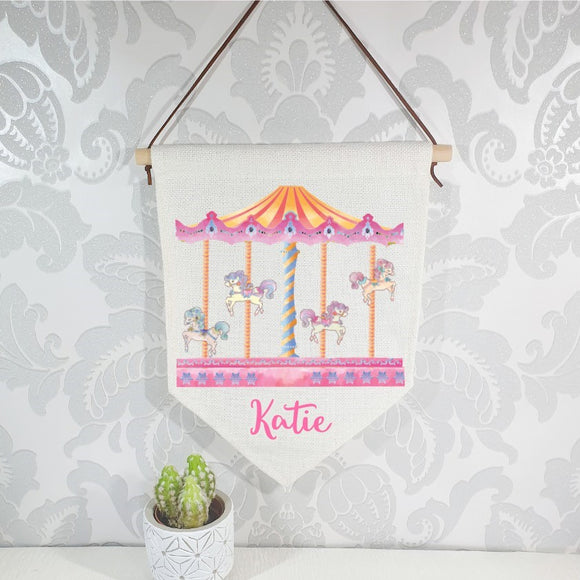 Carousel baby details flag, nursery linen banner personalised