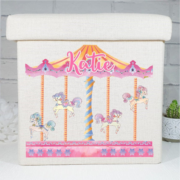 Carousel pony horse linen ottoman storage box personalised with any text