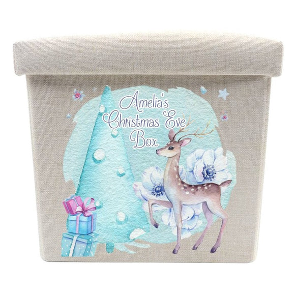 Linen deer Christmas eve box personalised with any text