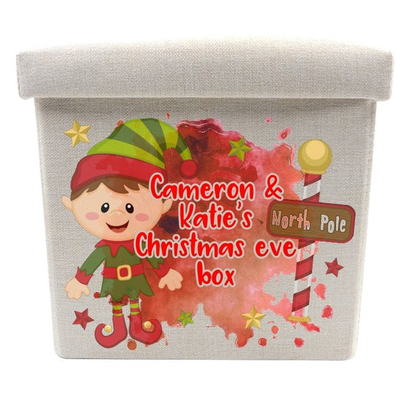 Linen elf Christmas eve box personalised with any text