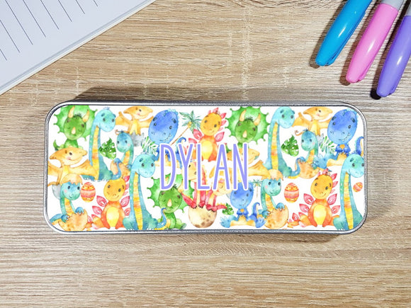 Dinosaur personalised stationary pencil tin