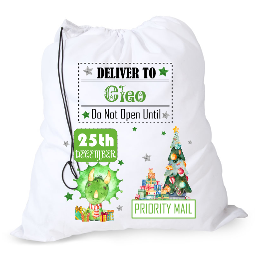 Large green dinosaur Santa sack personalised