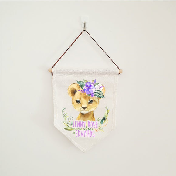 Baby lion cub flag, linen nursery banner, personalised