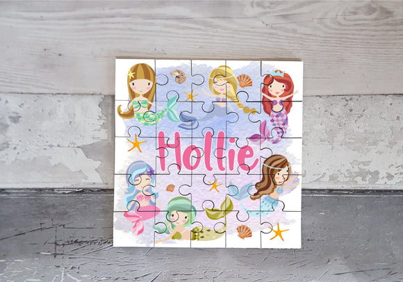Mermaid MDF square jigsaw puzzle personalised