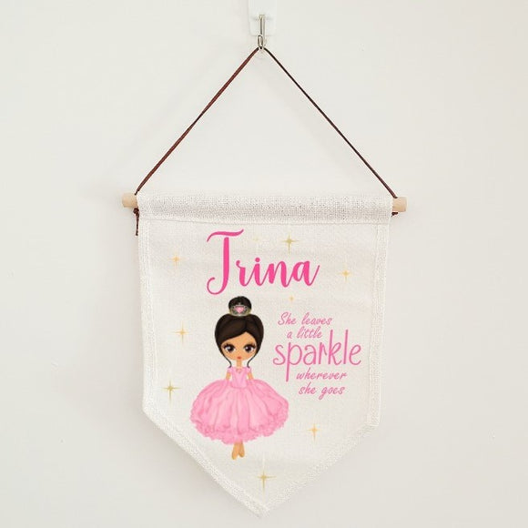 Pink princess baby details flag, nursery linen banner personalised