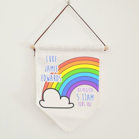 Rainbow baby details flag, nursery linen banner personalised