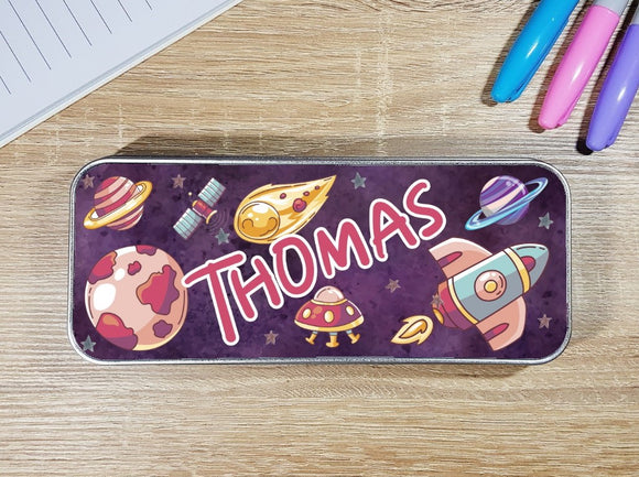 Solar system space personalised stationary pencil tin