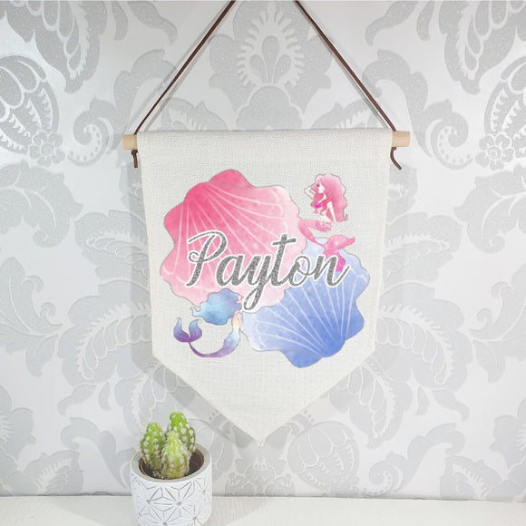 Watercolour pink and blue mermaid flag, linen nursery banner, personalised