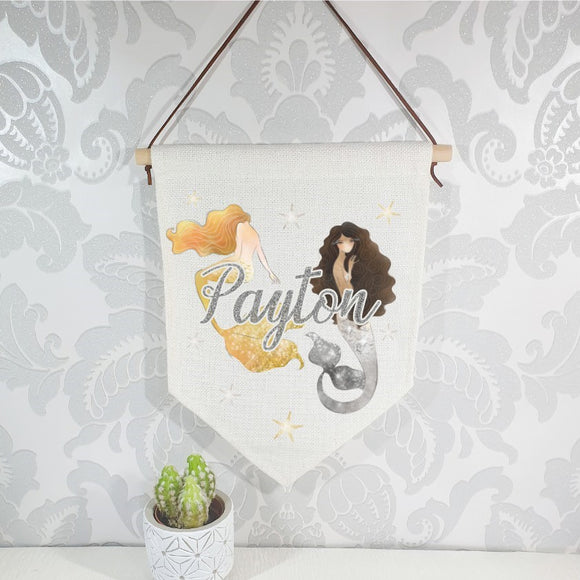 Watercolour gold and silver mermaid flag, linen nursery banner, personalised