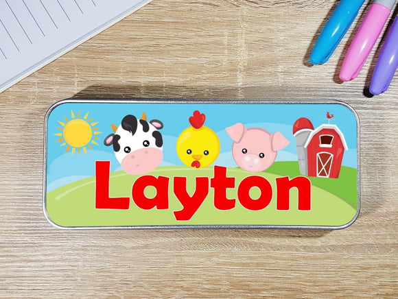 Farm animal personalised stationary pencil tin pig cow chick