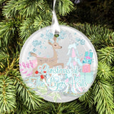 Deer and presents personalised Christmas tree bauble decoration