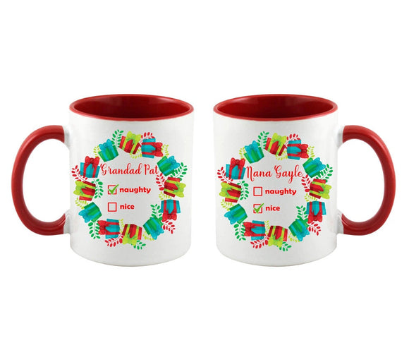 Personalised naughty nice red christmas mug
