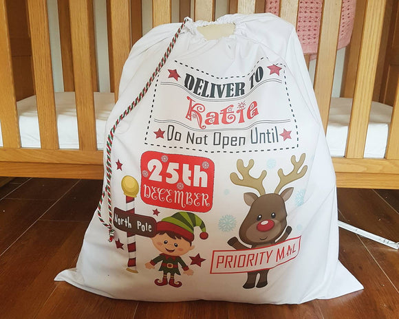 Large personalised Santa, reindeer, penguin or snowman sack