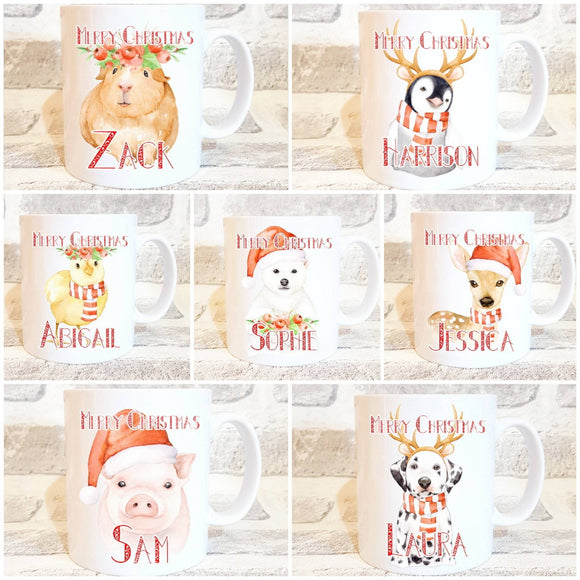 Christmas mug hamster, penguin, chick, polar bear, deer, chick, dalmatian