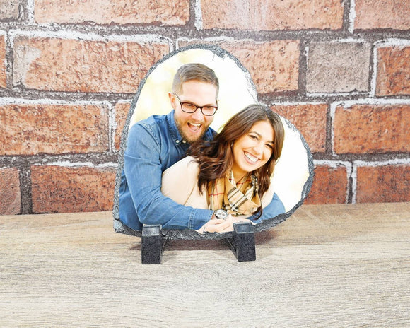 Heart photo rock slate personalised with your own photo