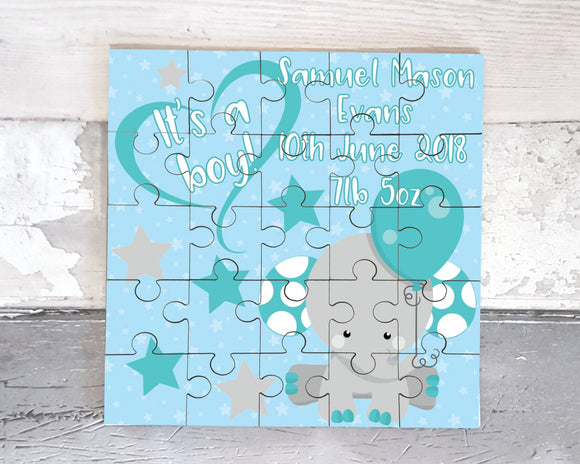 New baby boy personalised jigsaw puzzle