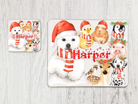 Christmas animals placemat and coaster dining set
