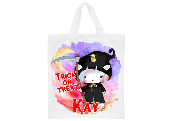 Personalised Halloween death grim reaper unicorn trick or treat tote bag