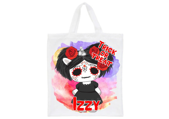 Personalised Halloween gothic unicorn trick or treat tote bag